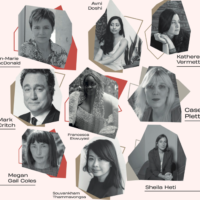 A poster of the AfterWords Literary Festival, with photographs of 9 of the featured writers
