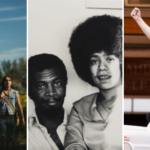 A collage of three of the publicity photos of films at the FIN Festival, comprising three Indigenous youths, a Black man and Black woman, and a young white transgender woman.