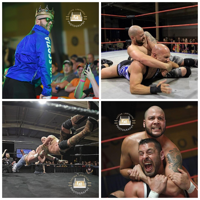 "Four photos: ""The King"" JP Simms wrestles Christopher Daniels, ""Dynamite"" Dylan Davis, and Colt Cabana."