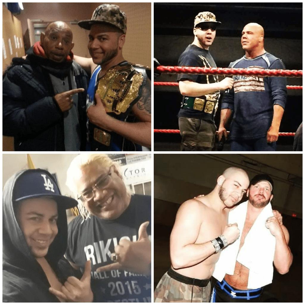 JP Simms with wrestling stars: 2 Cold Scorpio, Kurt Angle, Rikishi, & AJ Styles.