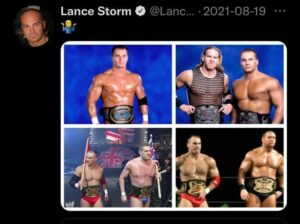 A screenshot of a collage of photos of pro wrestler Lance Storm taken from Storm's Twitter account. There are four photos of Storm, including a standlone shot with him in a wrestling belt.