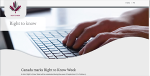 A screenshot of a promotion for Right to Know Week that shows a woman typing at a computer