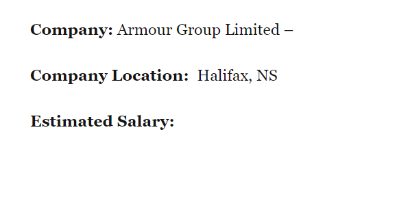 """Job listing showing """"Estimate Salary"""" with the space below it blank."""