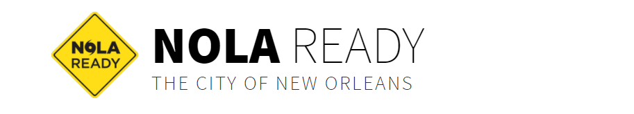 """Banner from the top of a website. It shows a yellow road sign with the words NOLA READY in it, plus beside it, the words NOLA READY and underneath """"The City of New Orleans"""""""