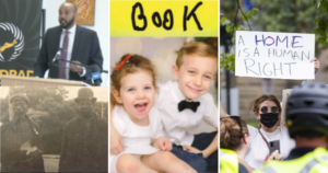 Four images from this week's articles: Brandon Rolle, a black and while photo of John Byard and Samuel Jones II, Braxton and Bria Dort, and a woman holding a sign at a protest which says A Home is a Human Right.