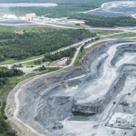 Aerial view of the massive gash that is the Touquoy gold mine at Moose River