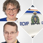 A collage of two councillors and the side of an RCMP vehicle