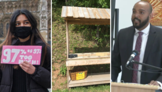 Three phots from Weekend File. A young woman of colour holds a pink protest sign which reads 97 percent is too much, an empty farmer's stand, and Brandon Rolle, a Black lawyer with Nova Scotia Legal Aid