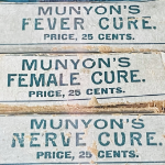 A selection of old paper packages of dubious Munyon's cures