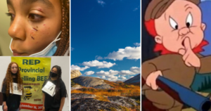 Four photos from this week's articles: three Black girls, the Barrens, and Elmer Fudd