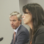 Tim Houston looks at Michelle Thompson at a Covid-19 briefing.