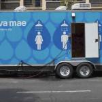 A shower trailer built into a long truck
