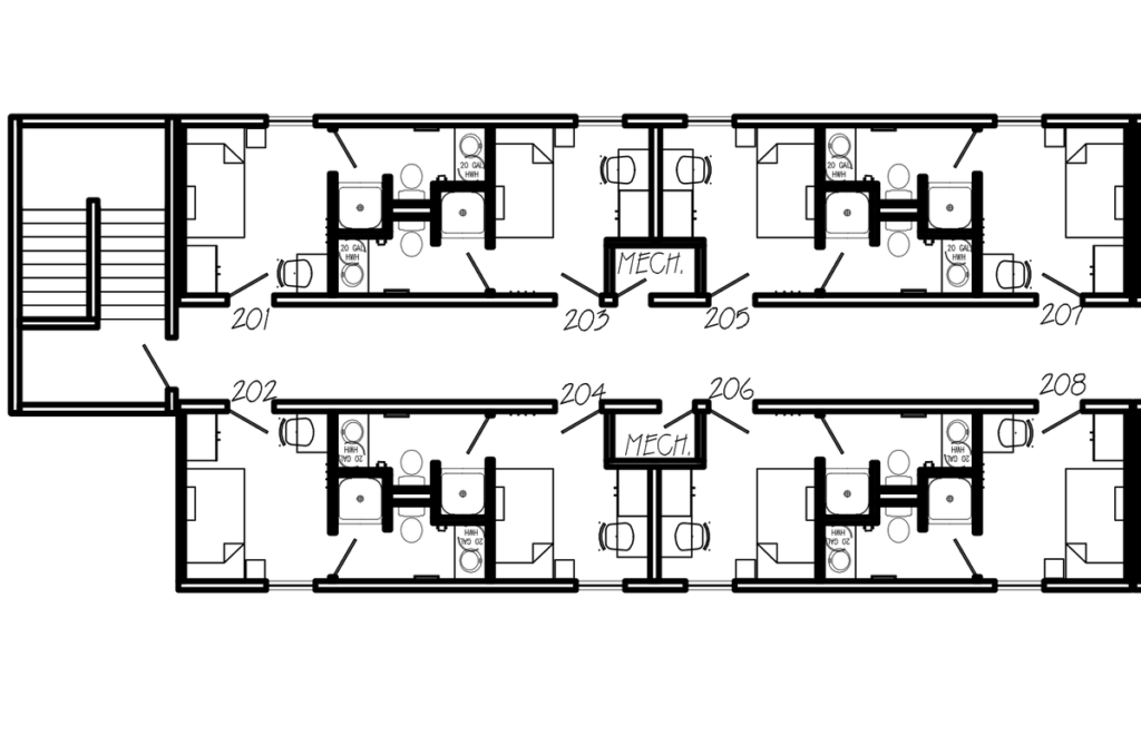 Floor plans showing stairs on the left, and then eight rooms, each with a bed, desk and chair, and washroom with shower, toilet and sink. The rooms are labelled 201 through 208. There are two mechanical closets on either side of the hallway.