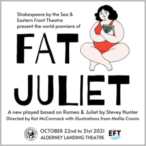 The poster for Fat Juliet, which has black bold lettering on a white background, and a cartoon of a fat young woman with dark hair in a red onepiece bathing suit holding a diary and smiling.