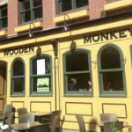 the outside of the Wooden Monkey, in bright sunlight