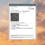 A proof of vaccination document floating on a sunset sky with puffy orange clouds