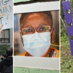 3 photos from this week's articles: a woman holds a sign at a protest, a black nurse in a medical mask, a purple letter K at a roadside memorial.